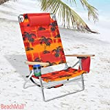5 position Heavy Duty 300 lbs Lay Flat Beach / Camping Chair Big & Tall