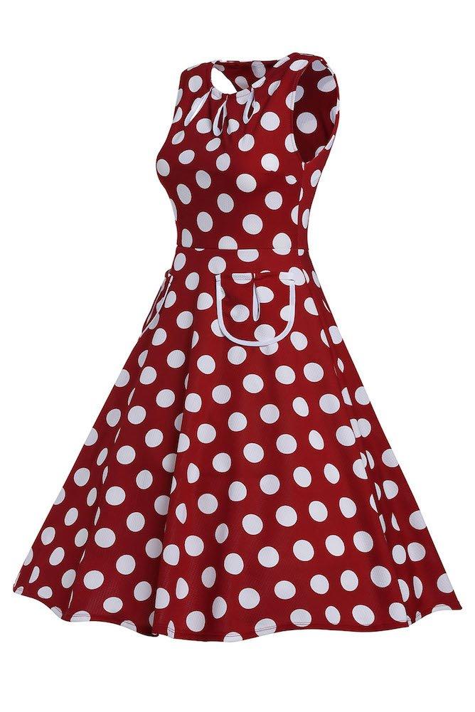 Roswear Women's Vintage 1950s Polka Dot A Line Belted Skater Dress 3