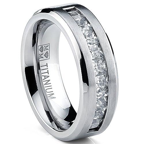 Titanium-Men-s-Wedding-Band-Engagement-Ring-with-9-large-Princess-Cut-Cubic-Zirconia