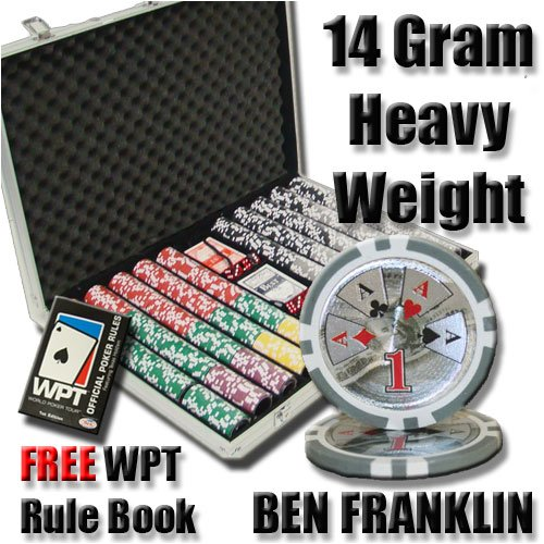 1000 Ben Franklin Poker Chip Set with Free WPT Rule Book. 14 Gram Heavy Weighted Poker Chips.