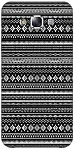 Snoogg Black And White Aztec Hard Back Case Cover Shield Forsamsung Galaxy E7