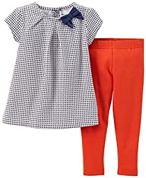 Carter\'s Baby Girls\' 2 Piece Striped Jegging Set (Baby) - Blue/Geo - 24 Months