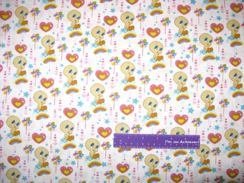 """43"""" Wide Tweety Bird Cloud 9 White Cotton Fabric By The Half Yard front-827569"""