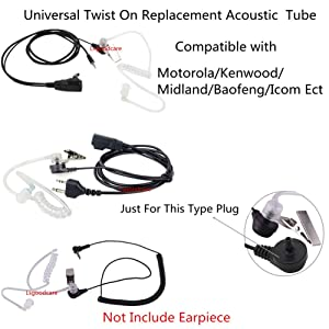 Lsgoodcare Replacement Coil Tube, Acoustic Air Tube Audio Tube with Earbuds Compatible for Motorola Kenwood Icom Midland Two Way Radio Walkie Talkie Ear Piece, Clear White (10Pack) (Tamaño: 10Pack)
