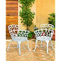Antique Victorian Cast Aluminum Patio Dining Chairs - White Heart, Set of Two Prodct SKU: PF01022C