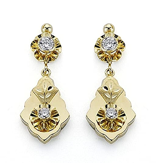 18k gold earrings 31mm Cuban two zirconia body. [7083]
