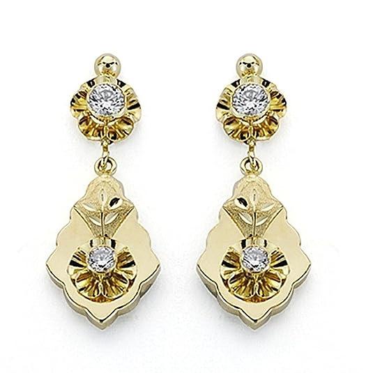18k gold earrings 31mm Cuban two zirconia body. [7083]