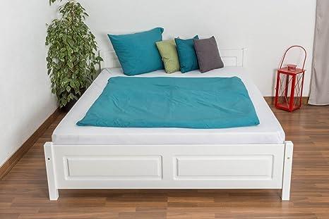 Bettgestell / Gästebett Kiefer massiv Vollholz weiß lackiert 77, inkl. Lattenrost - Abmessung 160 x 200 cm