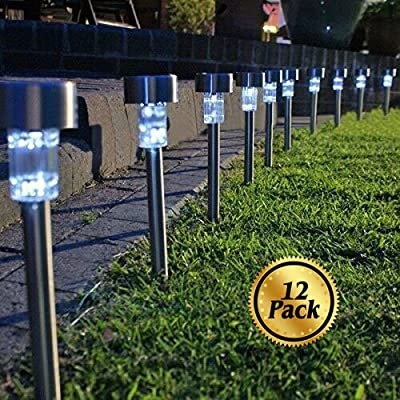 Landscaping Lights [12 Pack], Koolife [Stainless Steel] Solar Led Path Landscape Lights for Outdoor Garden Décor Lighting- Easy Installation- Weather and Water Resistant