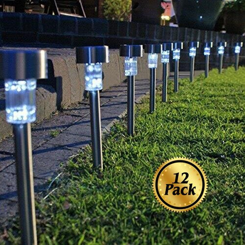 Solar Pathway lights [12 Pack], Koolife [Stainless Steel] Led Path Landscape Lights for Outdoor Garden Décor Lighting- Easy Installation- Weather and Water Resistant (Outdoor Pedestal Lights compare prices)