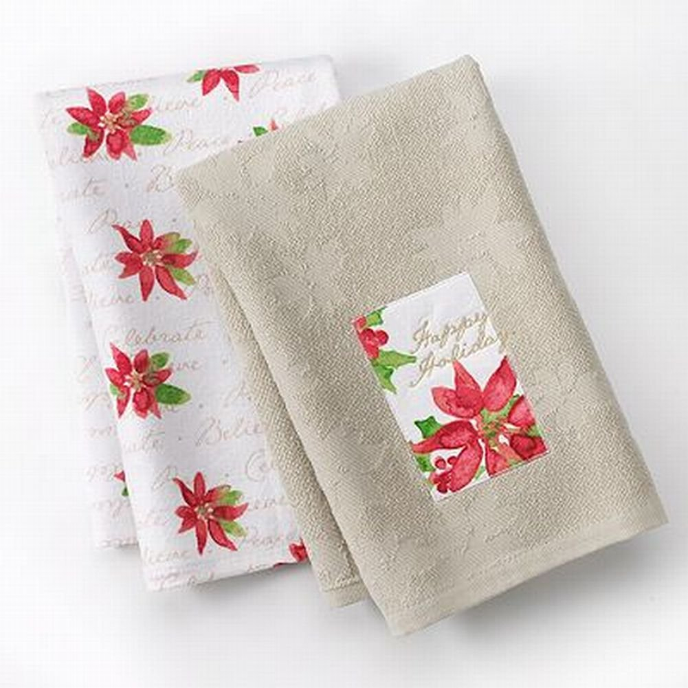 Poinsettia Kitchen Towels Christmas Wikii - Michel design works kitchen towel