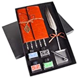 Stanpetix Quill Dip Pen Calligraphy Feather Pen Ink Set with Notebook and Pen Holder in Gift Box (New Grey) (Color: New Grey)