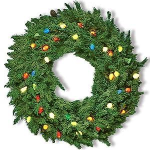"""24"""" Cordless C7 LED Pre-Lit Wreath"""
