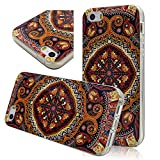 Seedan Rubberized TPU Flexible Gel Back Case for iPhone 5 5S Vintage Painting Skin Protector