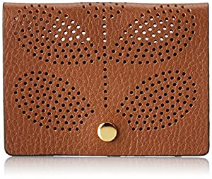 Orla Kiely Sixties Stem Punched Leather Card Holder,Hazel,One Size