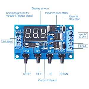 PEMENOL Timer Relay DC 5V 12V 24V Trigger Cycle Timer Delay Relay Module Dual MOS Switch Delay Control Board with Digital Tube Display and Protective Shell for Smart Home, Automatic Control (Tamaño: DC Timer Relay)
