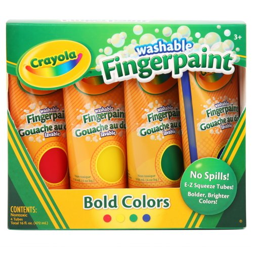Crayola 4Ct Washable Fingerpaints Primary (Bold, Primary Colors In Red, Blue, Yellow, And Green) 4 Oz.