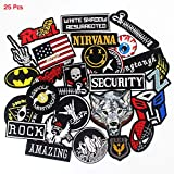 25pcs/lot Wholesale Boy's Men's Embroidered Patches Badges hot Iron on Cropped Patches for Clothes Stickers Appliques (Tamaño: 25pcs Boy's men's Embroidered Patches)