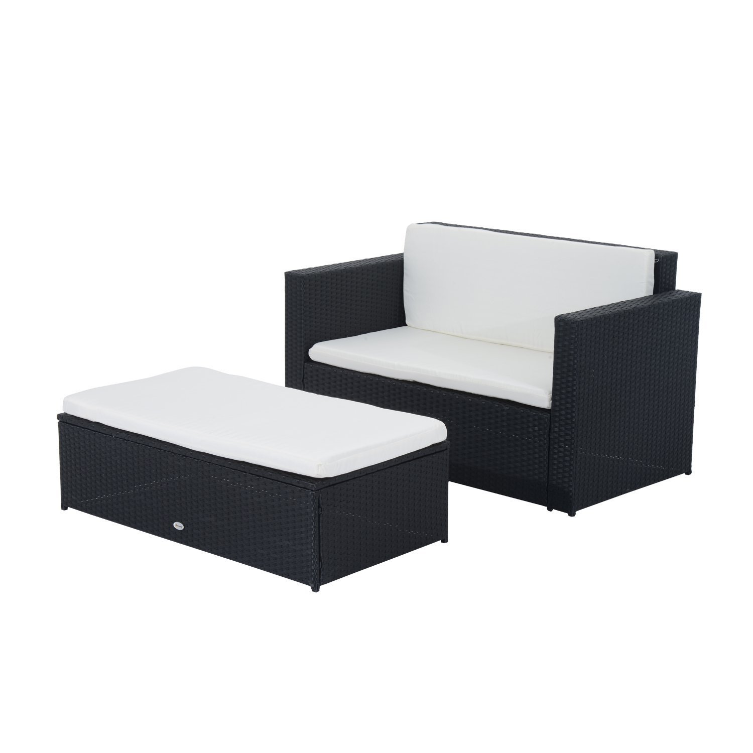 outsunny gartenm bel polyrattan gartenset sitzgruppe doppelsofa inklusiv kissen schwarz g nstig. Black Bedroom Furniture Sets. Home Design Ideas