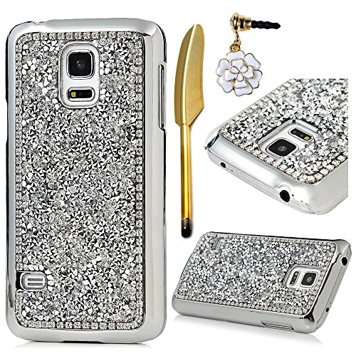 (not for S5)Galaxy S5 Mini Case - MOLLYCOOCLE 3D Handmade Shiny Sparkle Glitter Diamonds Design PC Hard Hybrid Shell Scratch Resistant Protective Ultra Slim Fit Cover for Samsung Galaxy S5 Mini,White