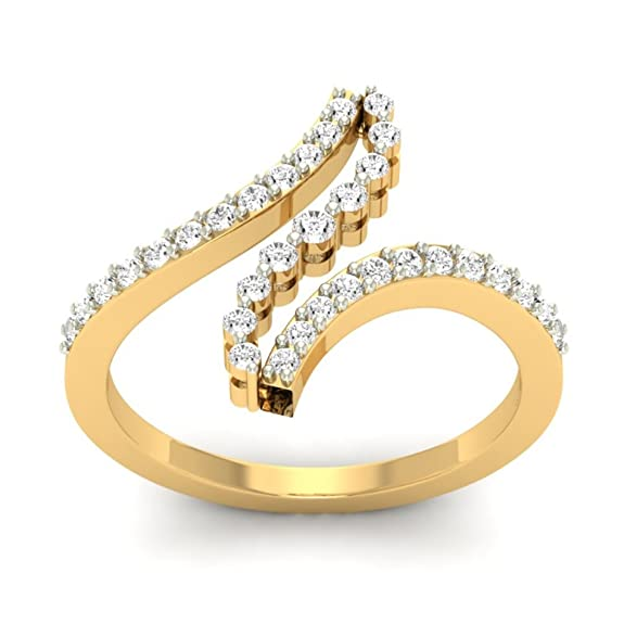 18K Yellow Gold 0.41cttw Round-Cut-Diamond (I-J Color, SI Clarity) Diamond Ring