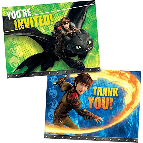 Amscan How to Train Your Dragon 2 Party Postcard Invitations & Thank You Cards Combo Pack (16 Piece), Blue/Green, 3 x 5""