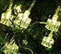 E-Lights Battery Operated 30 LED Fairy Lights String Warm White Ice Cube for Christmas Tree, Xmas, Indoor, Bedroom, Party, Wedding