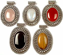 Exotic India Lot of Five Large Oval Gemstone Pendants(Rose Quartz, Rainbow Moonstone, Carnelian, Bla