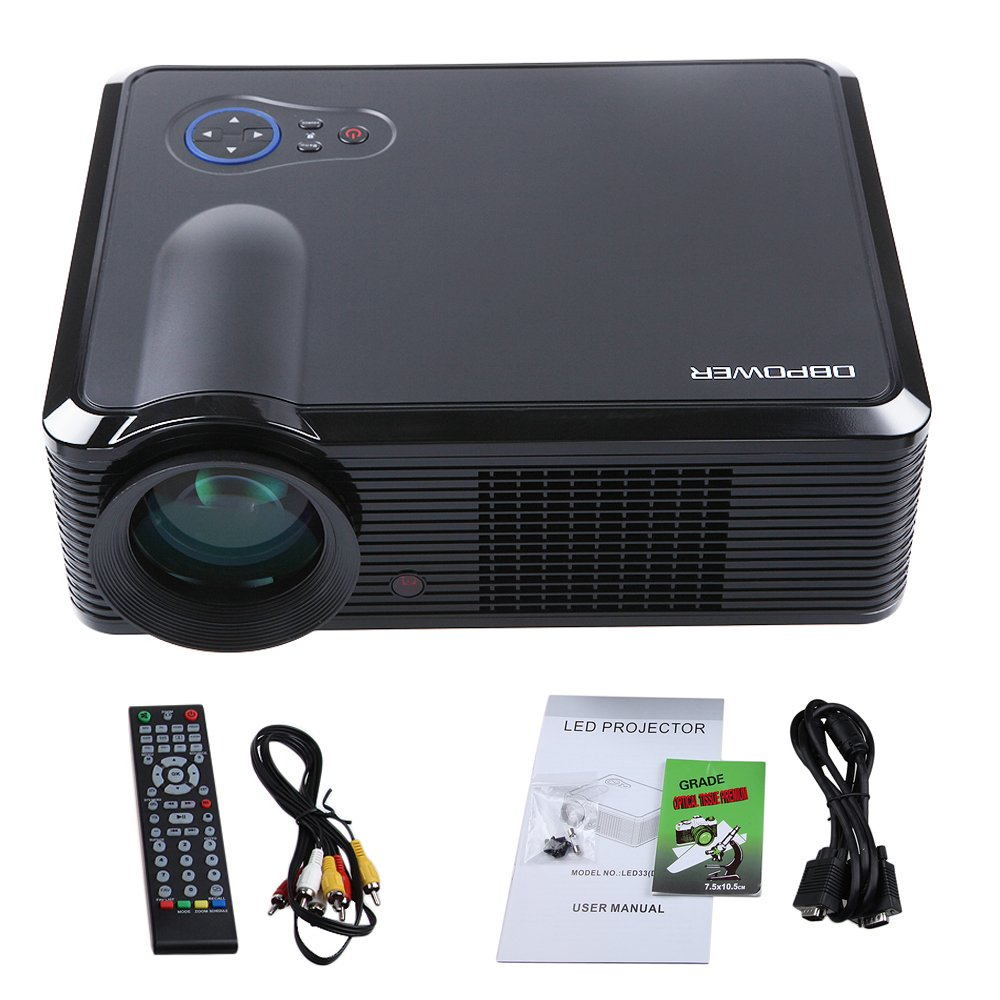 DBPOWER LED-33 Video Projector 2000 Lumens 854*540 1000:1 Component video(Ypbpr) VGA HDMI USB for Entertainment,Business Conference and Teaching