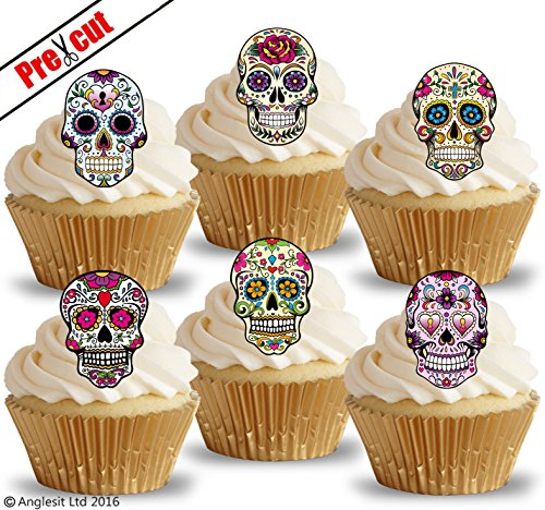 PRE-CUT CALAVERA SKULLS EDIBLE RICE / WAFER PAPER IMAGE CUPCAKE CAKE TOPPERS HALLOWEEN GOTHIC BIRTHDAY PARTY (Halloween Cupcakes Decorations Uk)