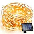 Milocos® 150 LED Solar Powered String Light, 8 Modes Steady on / Flash, Indoor/Outdoor Copper Wire Lights, Waterproof Starry String Lights, Ambiance Lighting for Gardens, Homes, Parties