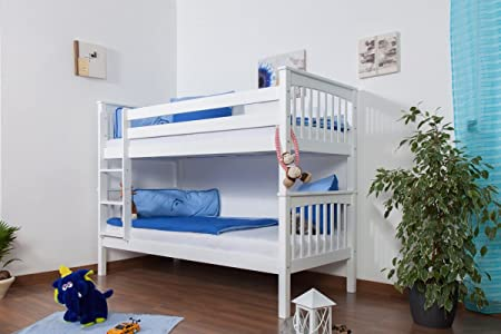 Children's bed / Bunk bed Mario solid beech wood, in a white paint finish, includes slatted frame - 90 x 200 cm