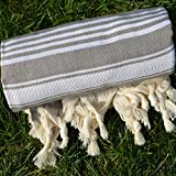 Gray Turkish Towel Peshtemal - 100% Natural Dyed Cotton - for Beach Spa Bath Swimming Pool Hammam Sauna Yoga Pilates Fitness Gym Picnic Blanket (Dandelion Textile)