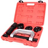 GZYF Heavy Duty Ball Joint Service Tool Kit for 2WD 4WD Car Repair Remover Installer Universal U-Joint Puller C-Clamp (9PCS) (Color: Red & Black, Tamaño: 9PCS)