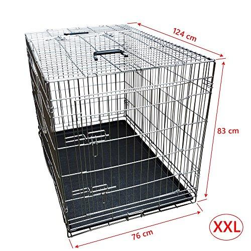 Nemaxx Transportbox Transportkäfig Drahtkäfig Klappbar Hundebox Größe XXL silber