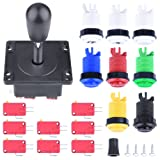Arcade Parts Bundles Kit,Longruner Arcade Accessories Kit with 1 Joystick,8 Push Buttons(1P/2P buttons & 6pcs Buttons) for Arcade Video Game Multicade MAME Jamma Game