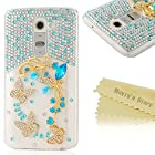 G2 Case, LG Optimus G2 Case - Mavis's Diary 3D Handmade Bling Blue Crystal Butterfly Flowers Painted Sparkle Rhinestone Case Hard Cover for LG Optimus G2 LG D800 LG D801 LG D802 (AT&T / T-Mobile / International Version) with Soft Clean Cloth (Pattern-1)
