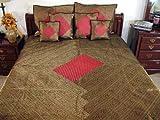 7p Burgundy Brocade Designer Sari Bedding Set Bedspread