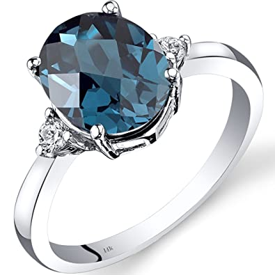 Revoni 14ct White Gold London Blue Topaz Diamond Ring 2.75 Carat Oval Cut