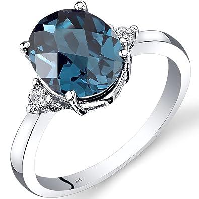 Revoni 14ct White Gold London Blue Topaz Diamond Ring 2.75 Carat Oval Cut