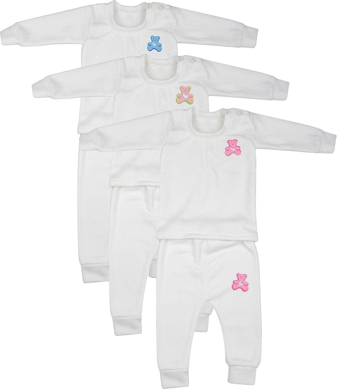 Kuchipoo Kids Thermal Top & Pyjamas, 6 Months-1 Year, Combo of 3