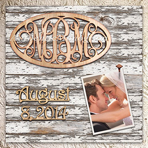 3 Letters Custom Monogram & Day To Remember On Wooden Picture Frame, Vintage Weather Board, Handcrafted - Home Decor, Wedding Decor, Nursery Decor, Romantic (12Inch)