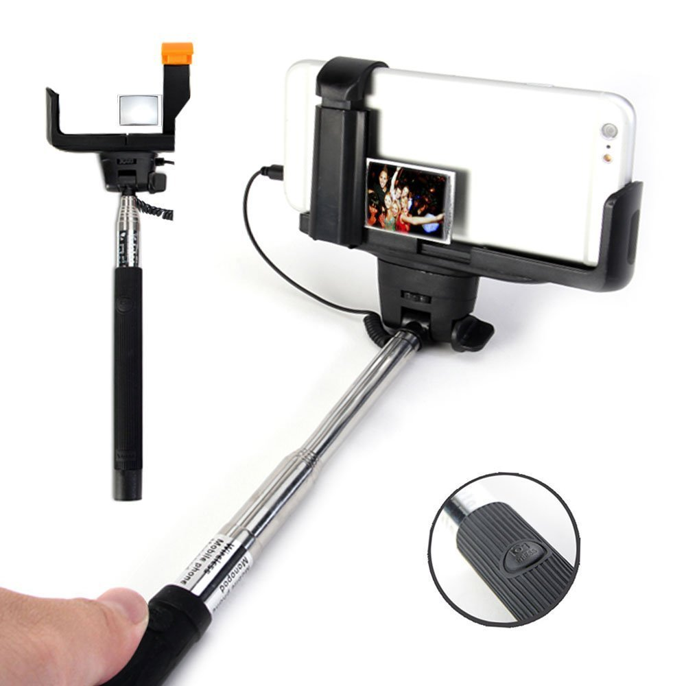 extendable wired selfie stick with mirror for android ios smartphones ebay. Black Bedroom Furniture Sets. Home Design Ideas