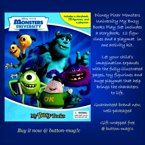 Disney Pixar MONSTERS UNIVERSITY My Busy Books - Includes a storybook, 12 figurines and a playmat *** Includes 1 SHEET of REWARD STICKERS for children