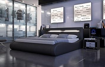 SAM® Polsterbett Sprint II in schwarz 160 x 200 cm geschwungene Seitenteile Kopfteil mit Beleuchtung modernes abgerundetes Design Wasserbett geeignet