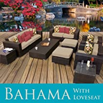 Hot Sale Bahama Outdoor Wicker Patio 9 Piece Set With Loveseat - Sand