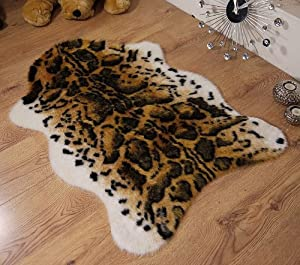 Snow leopard animal print faux fur sheepskin single rug 70 x 100 cm