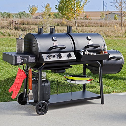 Bar-B-Q Char-Griller Trio Gas Charcoal Smoker Grill With Cover