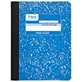 "Mead Composition Book, Wide Ruled, 100 sheets, 9-3/4"" x 7-1/2"", Assorted Colors, 12 pack (73389)"