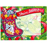 Sequin Stocking Christmas Invitations, Fill-In Style, 8 Pack